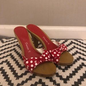 Red and White Size 6.5 High Heels